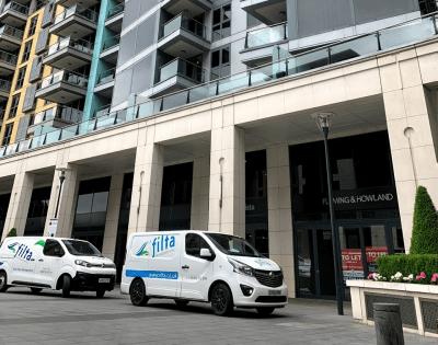 Filta Vans outside Arrow office | Filta Environmental