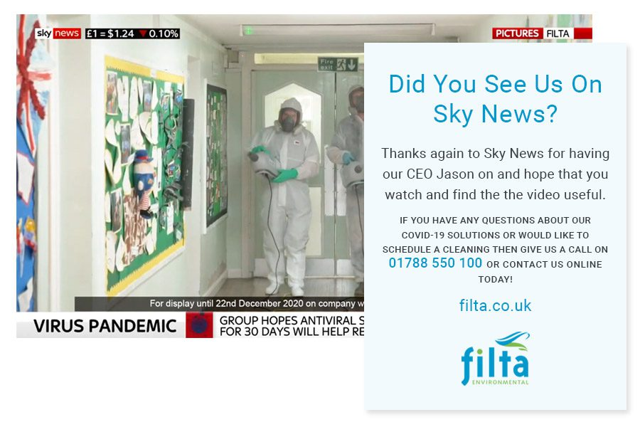 Filta Environmental - COVID 19 - Sky News UK