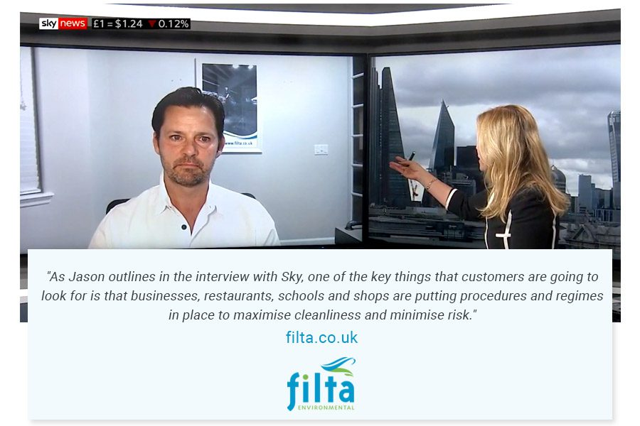 Filta Features on Sky News - Covid-19 - Jason Sayers CEO Filta