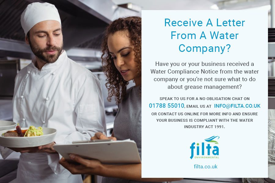 Letter Water Company Compliance - Grease Management UK - Filta